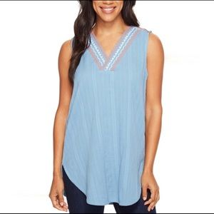 Prana Blue Embroidered Long Tunic Tank Top, XS